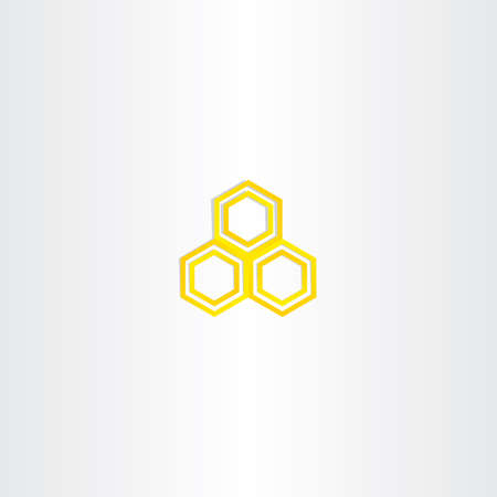 honey comb: yellow logo honey comb icon sign organic