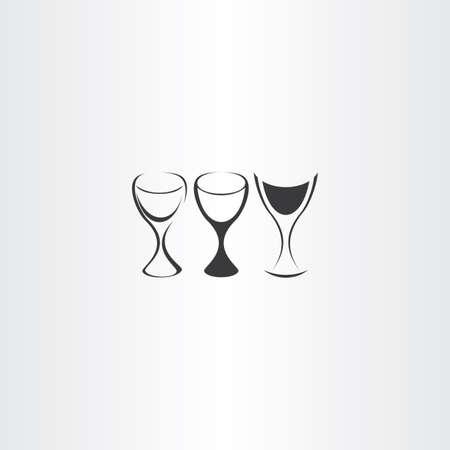 様式化されたワイングラス ベクトル デザインのロゴを設定  イラスト・ベクター素材