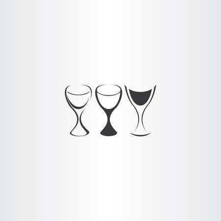 stylized wine glass vector set design logo Illustration