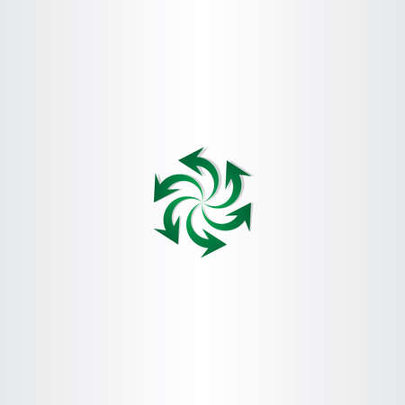 green arrow: green arrow symbol recycle spiral sign logo design Illustration