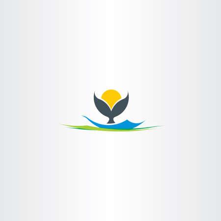 the tail: whale tail island beach logo design