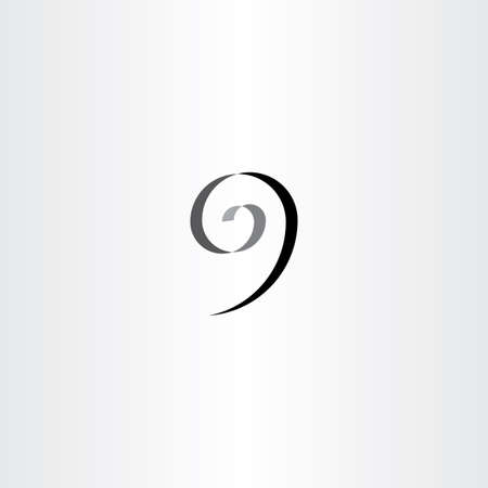 stylized number 9 nine black spiral icon logo