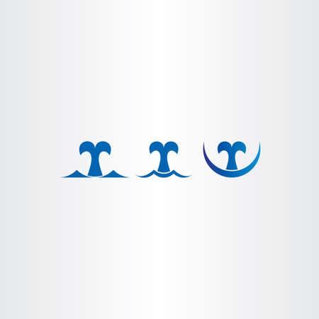 whale blue icons set tail symbol logo