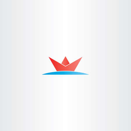sea water: red paper boat in sea water logo symbol