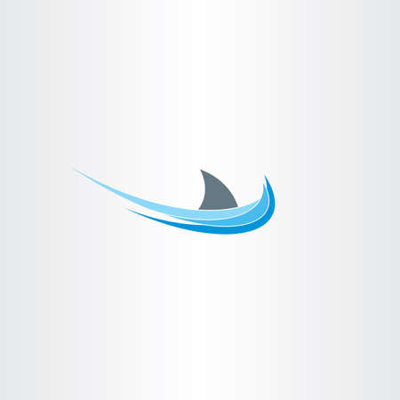 killer waves: shark sign sea water wave icon label