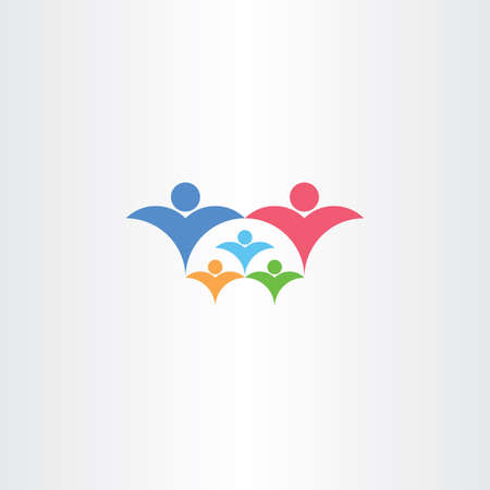 rich couple: family rich with kids icon third child vector concept design