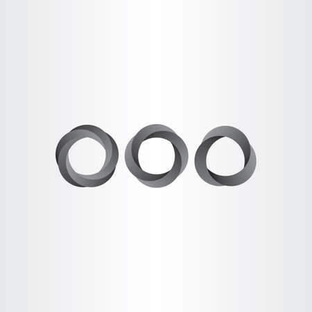 looped: impossible looped black circle vector set icon