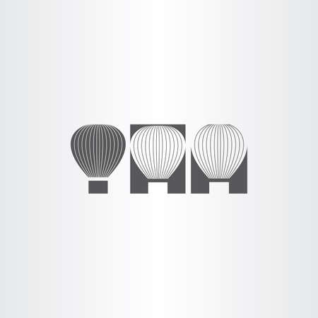 airplay: air balloon black icon set sign Illustration