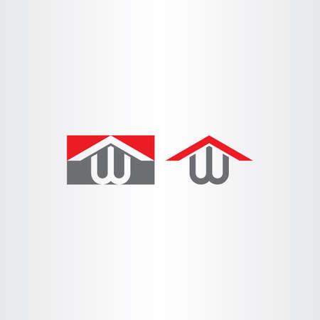 w letter w house home vector brand Illustration
