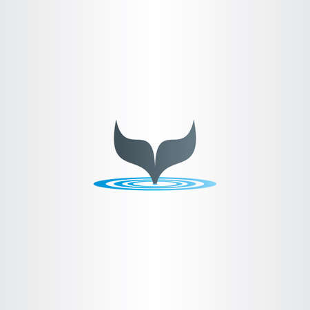 fish tail: water wave and whale fish tail vector label