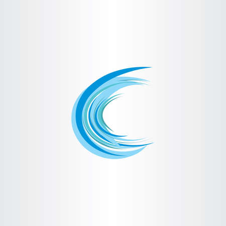 water wave: blue water wave letter c vector icon