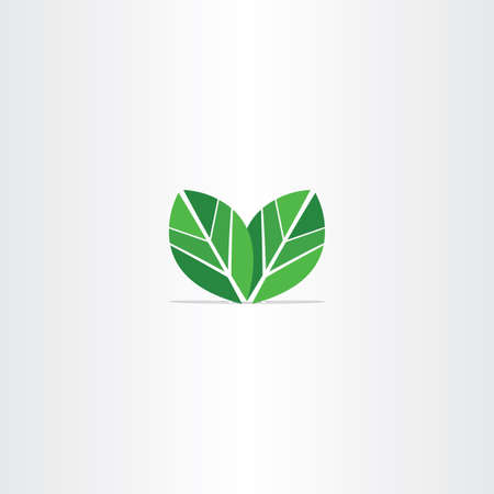 green leaves eco icon vector label