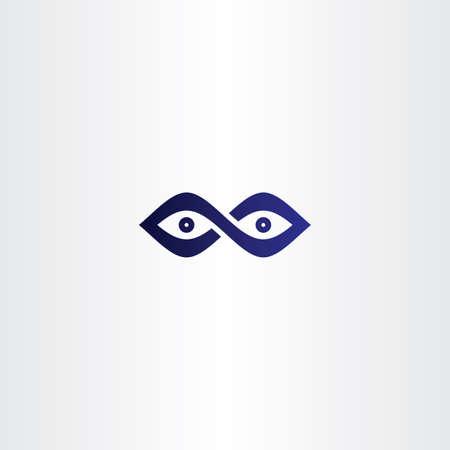 eyes looking down: infinity eyes vector icon emblem
