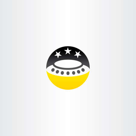 abduction: ufo star night sky vector icon object
