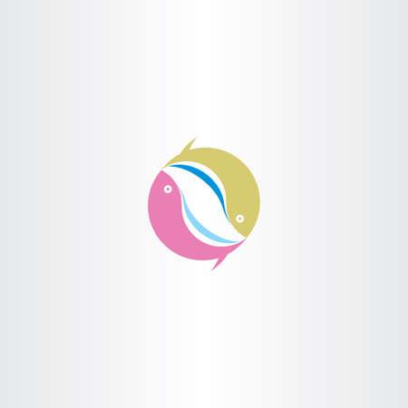 logo poisson: poissons cercle logo symbole icône signe vecteur