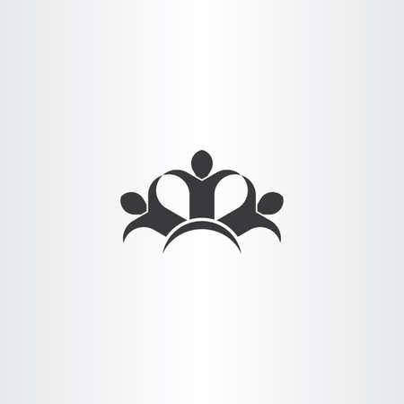 people holding hands: people holding hands friends icon black vector