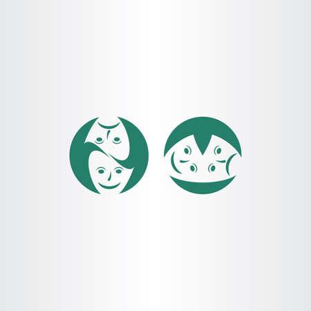 theatre masks: theatre masks icon vector Illustration