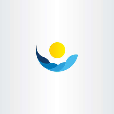 water waves: water waves sun icon vector  element sign design