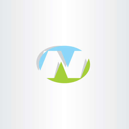 ellipse: blue green letter n ellipse logo vector Illustration