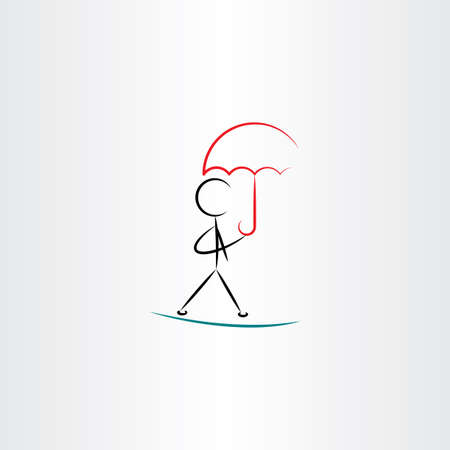 weatherproof: man with umbrella walking vector illustration