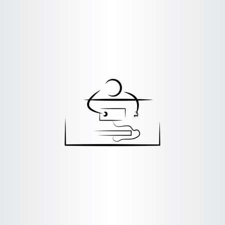 pc icon: man work on pc computer icon
