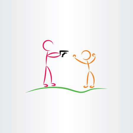murderer: man pointing gun killer vector icon Illustration
