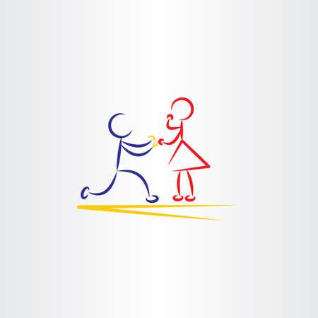 Mann schlägt Frau Vektor-Symbol Illustration