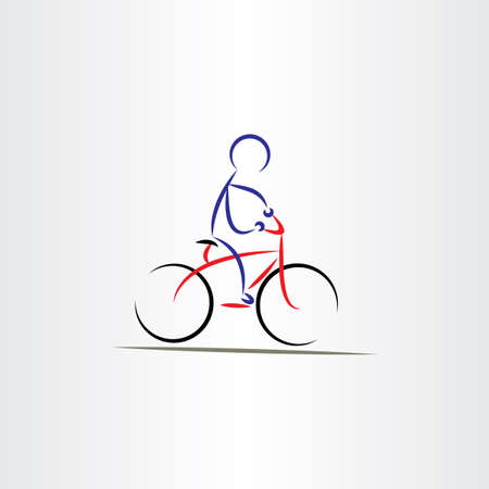 bicycling: biker man stylized vector icon