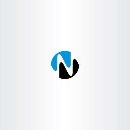 black and blue: black blue n letter symbol vector icon