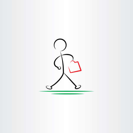 hurry: business man hurry walking vector icon black design Illustration