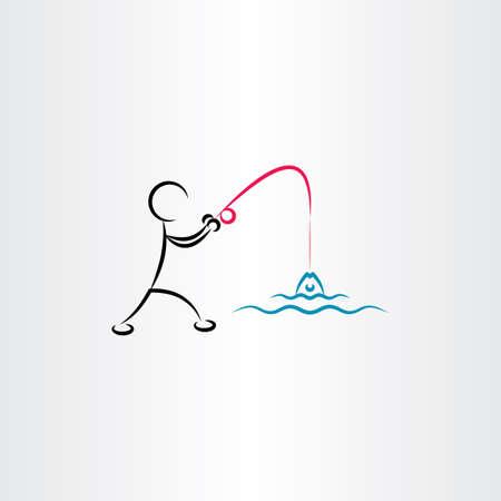 man fishing: man fishing vector icon illustration design