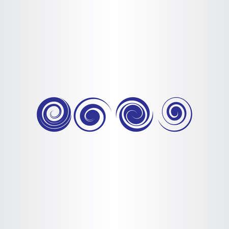 blue spiral water waves icon set Illustration