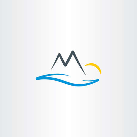 landscape river mountain and sun vector Иллюстрация
