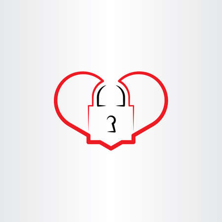 heart lock vector logo icon Illustration