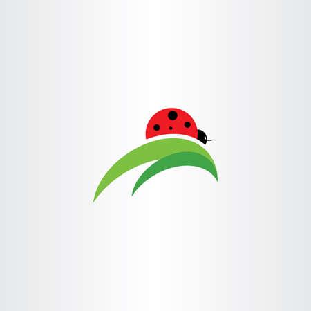 Ladybug on leaf logo icon vector element