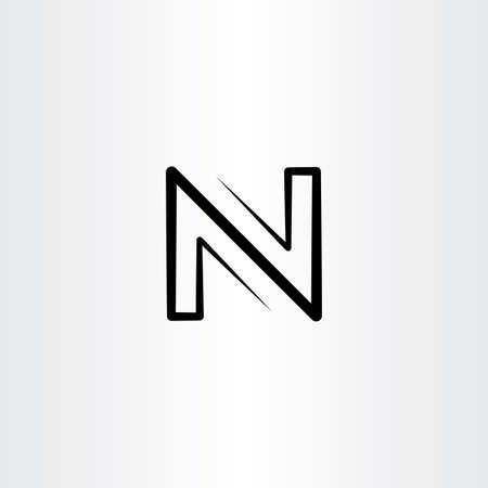 Lettre noire N logo icône de signe de vecteur Banque d'images - 90856507