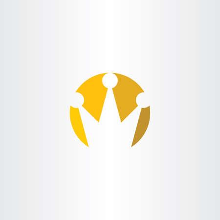 Logo crown yellow vector sign