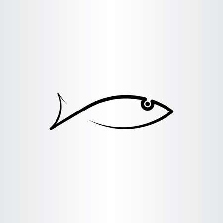 vector black fish icon symbol design element  イラスト・ベクター素材
