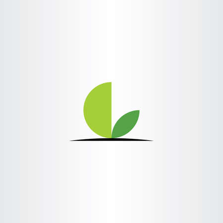 green leaves l letter circle icon vector
