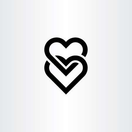 heart link black icon symbol vector