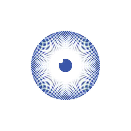 hypnotic blue halftone eyeball vector design  イラスト・ベクター素材