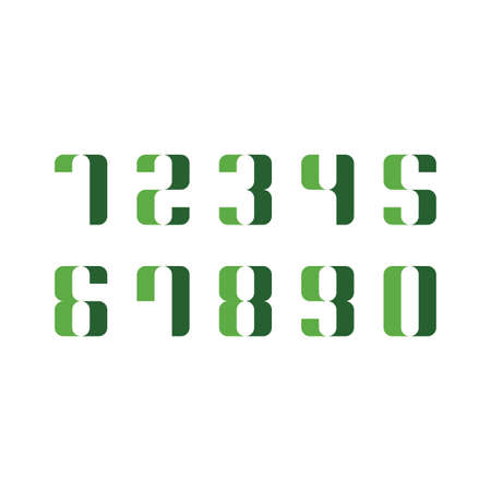 green numbers from 0 to 9 icon vector set collection