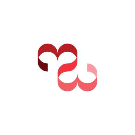 red heart love ribbon vector icon design element Ilustração