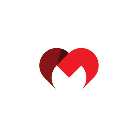 letter m heart icon red symbol design