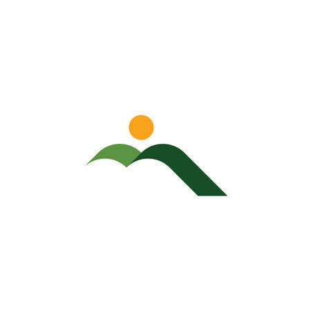 natural green mountain and sun landscape icon