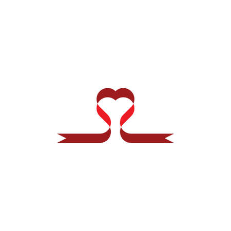 heart ribbon vector design element icon  イラスト・ベクター素材
