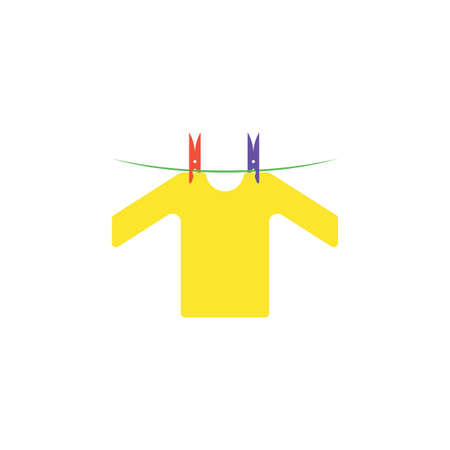 cloth hanging on rope vector icon illustration