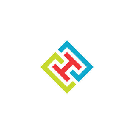 geometric letter h vector icon