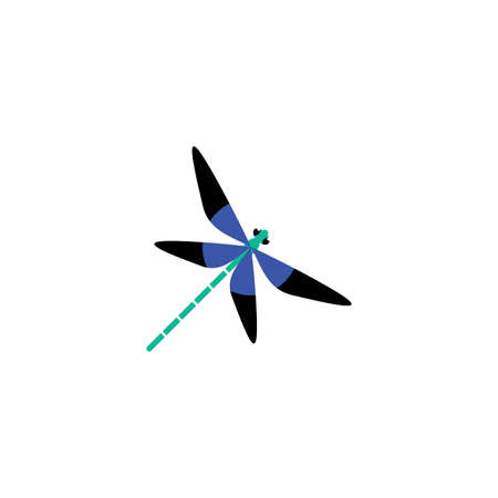 blue dragonfly logo icon vector illustration