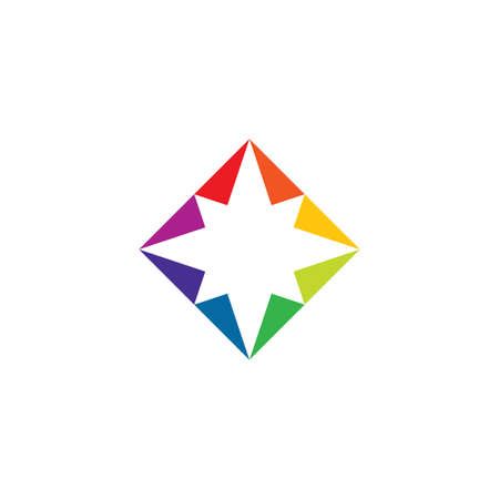 colorful square star abstract business logo design